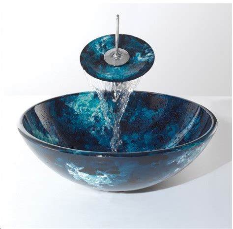 luxury blue glass basin sink bowl with matching glass