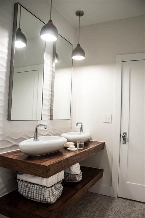 floating wood double vanity adds interest  white modern