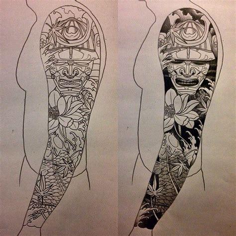 japanese style sleeve tattoo flowerskoisamurai contoh