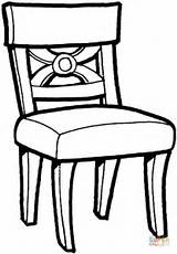 Coloring Chair Kitchen Printable Drawing sketch template