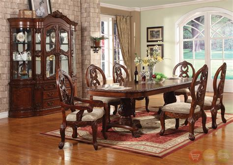 windham formal dining set cherry wood carved table chairs