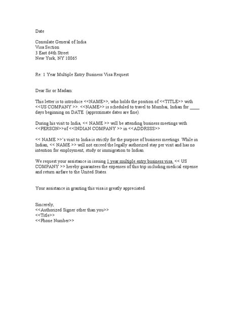 Sample Business Letter for Indian Visa