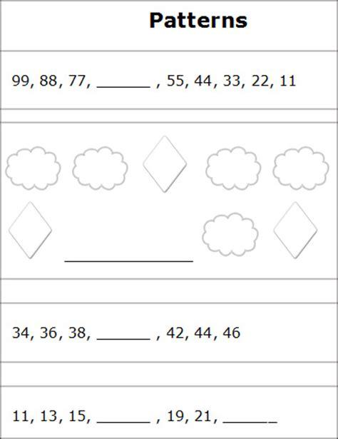 patterns  sequences worksheets  printable number