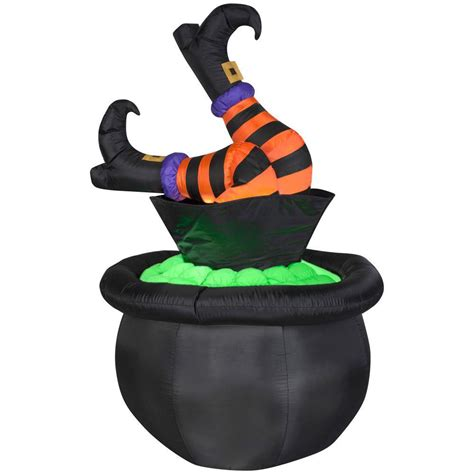 gemmy 5 ft animated inflatable witch legs in cauldron