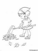 Coloring Rake Raking Pages Drawing Leaf Autumn Bandit Leaves Kissing Template Printable Sketch sketch template