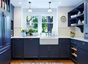 Blue farmhouse kitchen traditional with dark blue open