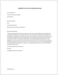 Complaint Letter for not Getting Promotion   writeletter2.com