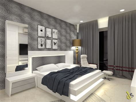 bed room furnished  grey colored appearance white