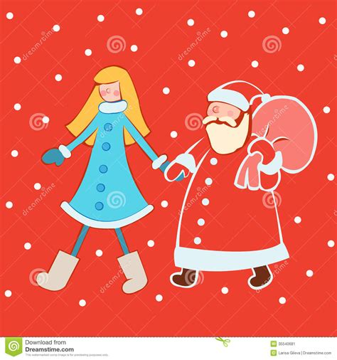 Santa Claus With Maiden In Bright Clothes Stock Santa Claus With Maiden In Bright Clothes Stock Image