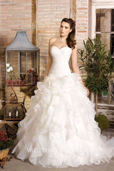 Strapless Sweetheart Ivory Ruched Organza Cascading