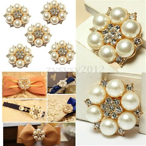 1 50 pearl rhinestone brooch wedding dress diy flatback buttons embellishment ebay