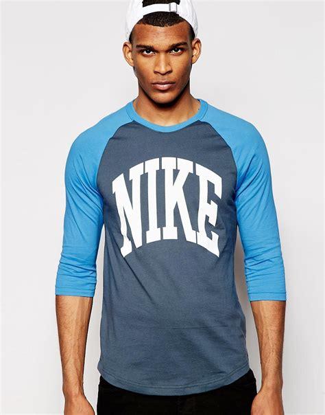 nike nike raglan t shirt with 3 4 length sleeves at asos