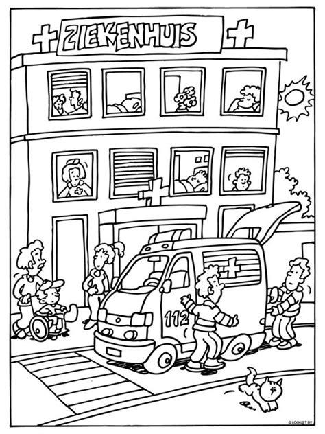 Kleurplaat Ambulance by Kleurplaat Ziekenhuis Ambulance Kleurplaten Nl Ziek