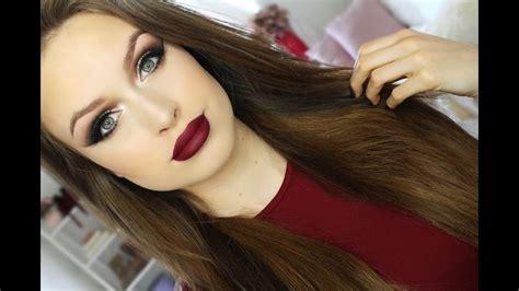winged bold eyeshadow  burgundy lips makeup tutorial youtube