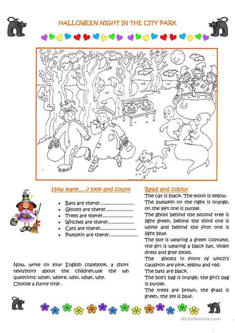 Halloween Night In The City Park Worksheet  Free Esl Printable Worksheets Made By Teachers