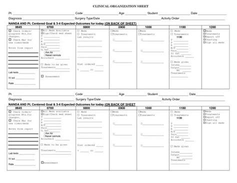 clinical organization sheet nursing pinterest