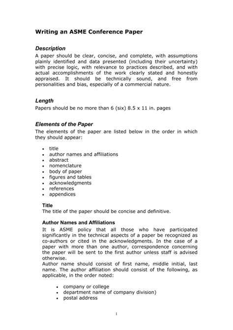 Writing an ASME Conference Paper