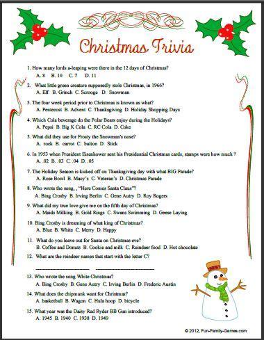 christmas trivia   memories