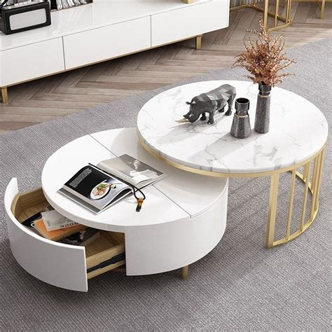 Mobelaris has an extensive selection of modern coffee table. Modern White & Walnut / White Round Coffee Table with Storage Wood Rotating Marble Nesting ...