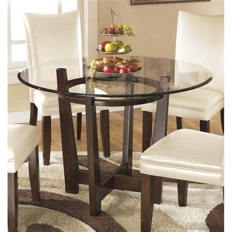 ashley charrell glass  dining table  medium brown