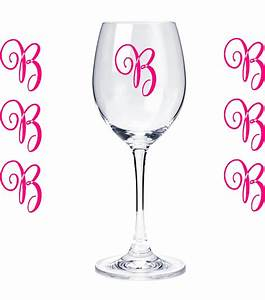 set of 10 monogram initials sticker vinyl decals glasses With vinyl monogram letters for wine glasses
