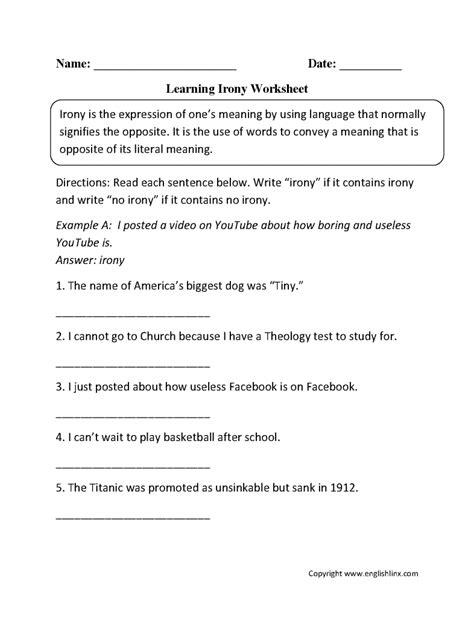 onomatopoeia worksheets figurative language worksheet 3