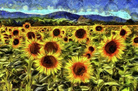 sunflower field van gogh mixed media by david pyatt