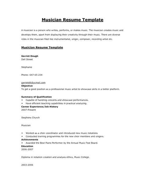 musicians resume sles resume ideas