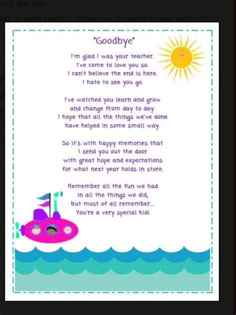 goodbye poem poems  students preschool poems kids poems
