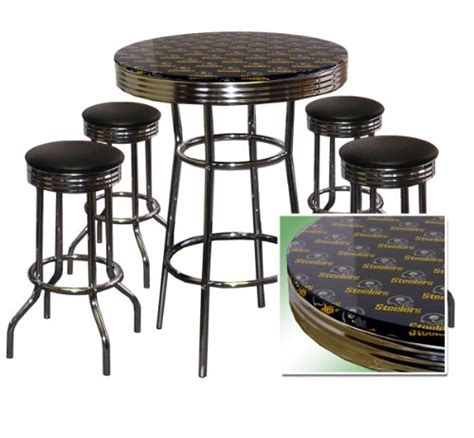 pittsburgh steelers 5 chrome glass pub bar table set