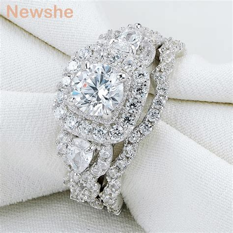 newshe 2 pcs genuine 925 sterling silver halo wedding ring sets engagement band gift jewelry for