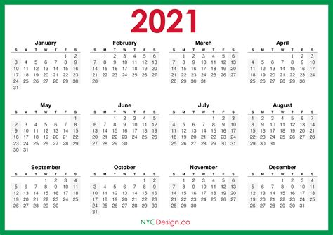 calendar printable  horizontal green hd