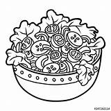 Salad Coloring Bowl Vegetables Colorear Saladier Lettuce Clipart Ensaladas Imagenes Verduras Vectors Coloriage Legumes Livre Ensalada Hanklee Similar Illustrations Children sketch template