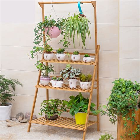 Hanging Pot Shelf by 3 Tier Folding Shelf Hanging Plant Stand Bamboo Flower Pot