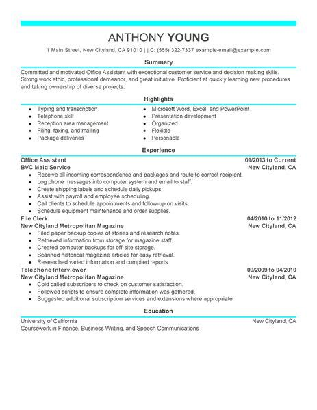 resume sle for office worker best office assistant resume exle livecareer