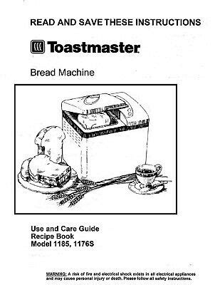 This bread recipes can be tried in the toastmaster bread and butter machine model 1195. Toastmaster Bread Maker Machine 1185 Operator Instruction ...