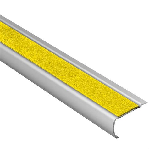 tile stair nosing trim schluter trep gk s brushed stainless steel yellow 1 16 in