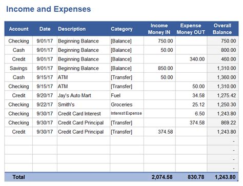 Income And Expense Tracking Worksheet