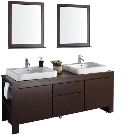 "Allessa 72"" Modern Bathroom Double Vanity Set  Iron Wood"