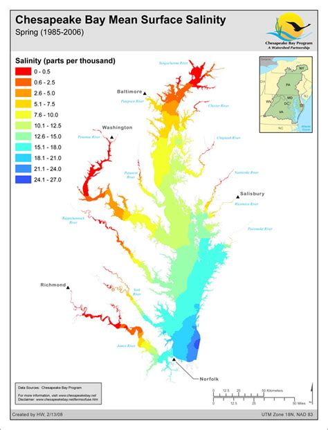 Chesapeake Bay Gis Data by Map Chesapeake Bay Surface Salinity 1985