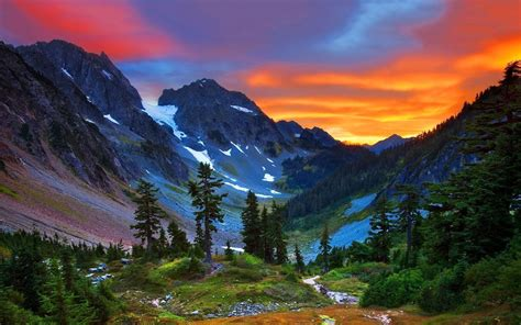 Sunset Over Swiss Alps Hd Wallpaper Background Image