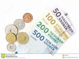 Danish Kroner Coins And Folded Banknotes Stock Photo ...