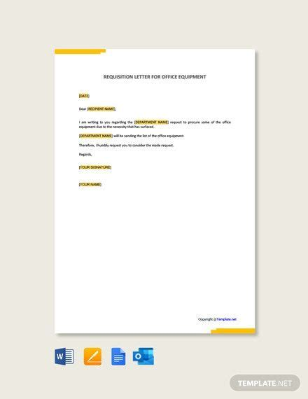 FREE Requisition Letter Template for Office Equipment ...