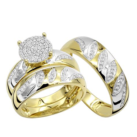 cheap engagement rings and wedding band in 10k gold his hers trio