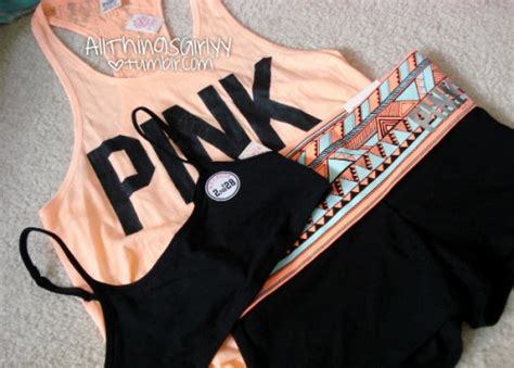Cute fashion orange pink Clothes victoriau0026#39;s secret girly neon tank top Sports Bra yoga shorts ...