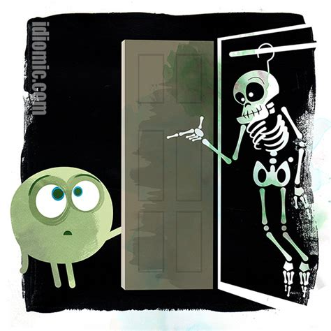 Skeleton In The Closet Idiom by Skeleton In The Closet Illustrated At Idiomic