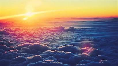 Desktop Cloud Background Clouds Above Sunrise Fluffy
