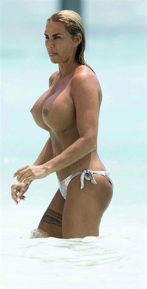 Katie Price Topless — Nude Massive Tits On The Beach