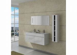 Meuble De Salle De Bain Double Vasque : meuble double vasque avec colonne dis980b blanc distribain ~ Teatrodelosmanantiales.com Idées de Décoration