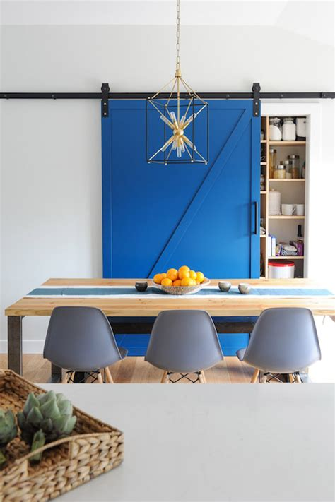 kitchen furniture pantry pantry with blue barn door transitional dining room oliver and simon design